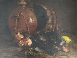 Antique Original Oil Still Life on Canvas, by listed French Artist Ernest Honnorat, 1888.