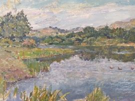 "Original Oil on Linen, ""Ducks on Pond"" by Russian Artist Vladimir Panchenko."