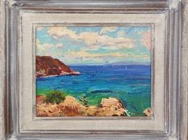 Framed Original Oil on Canvas, Mykonos,  by Russian Artist Dmitriy Proshkin.