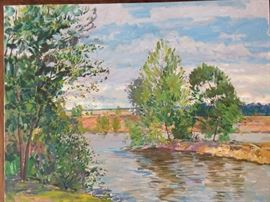 Original Plein Air Oil on Canvas, Gadsden, AL Lake,  by Russian Artist Dmitriy Proshkin.