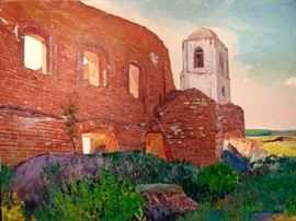Large Original Oil on Canvas, Ruins of 17th Century Russian Church,  by Russian Artist, Dmitriy Proshkin.