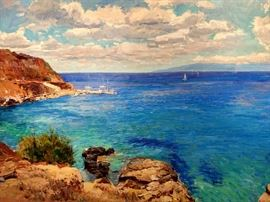 Large Original Oil on Canvas, Mykonos Island,  by Russian Artist, Dmitriy Proshkin.