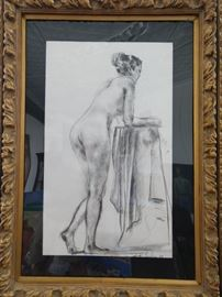 Framed Original Charcoal on Paper,  by Listed Russian Artist, Murat Kaboulov.