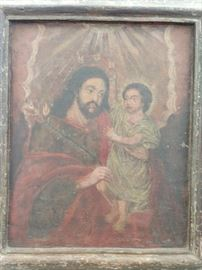 Antique Peruvian Icon, on Wood, Jesus and Joseph.
