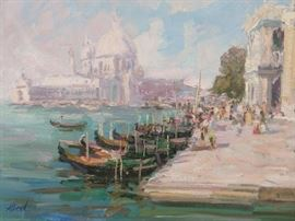 Original Oil on Canvas Venetian Canal Scene, w/Cathedral, by Ukrainian Artist, Albert.