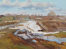 Original Oil on Canvas Winter Village, w/Field, Stream, by Ukrainian Artist, Ralif Ahmetshin.
