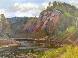 Original Oil on Canvas Ural Mountains, w/Bend in Stream, by Ukrainian Artist, Ralif Ahmetshin.