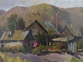 Original Oil on Canvas, Village Scene, w/Mountains, by Russian Artist, Ralif Ahmetshin.
