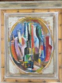 Framed Original Oil on Canvas, Abstract Wine Bottles, by Russian Artist,  Dmitriy Proshkin.