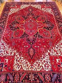 "STUNNING vintage Persian Heriz rug, hand woven, 100% wool face, measures 9' 2"" x 12' 7""."