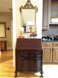 Vintage 1940's mahogany drop-front writing desk, with gold, beveled glass mirror above - check out that buffalo!
