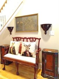 Handsome mahogany Chippendale style mahogany settee, with pair of FABBY Belgian tapestry pillows, pair of hand painted Asian chests, with vintage framed Cathedral rubbing.