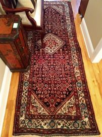 "Vintage hand woven Persian Malayer Sarouk runner, 100% wool face, measures 3' 6"" x 10' 1""."