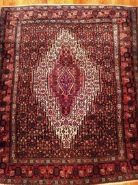 "Vintage hand woven Persian Kurdish Bijar rug, 100% wool face, measures 4' x 4' 10""."