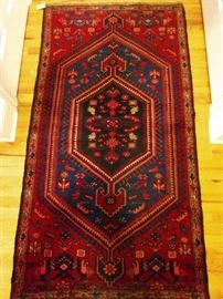 "Vintage hand woven Persian Kurdish Bijar rug, 100% wool face, measures 3' 4"" x 6'."