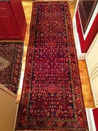 "Vintage hand woven Persian Lilihan Sarouk runner, 100% wool face, measures 3' 5"" x 10' 10""."
