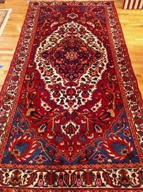 "Vintage hand woven Persian Viss Heriz gallery runner, 100% wool face, measures 5' 6"" x 10' 9""."