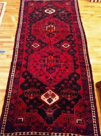 "Vintage hand woven Persian Viss runner, 100% wool face, measures 4' 9"" x 9' 10""."