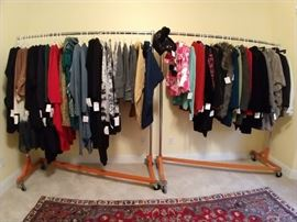 An entire rack of vintage fall/winter women's clothes. Labels include: Tyler Böe, Karen Kane, Fever, Arden B., Spanner, Epic Steven, Daiana Lima, Nordstrom Collection, Peck & Peck Cashmere, Lost Petal Linens, Grey Violet, Kokomo Unlimited, Comfy, Sun Kim, Moda Italia, Saga.