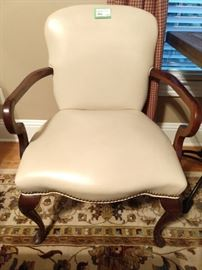 One of a pair of vintage leather Sherrill armchairs.