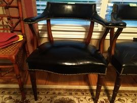 One of a pair of vintage leather Hickory Chair armchairs.