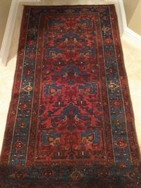 "Vintage hand woven Persian Lilihan rug, 100% wool face, measures 3' 7"" x 6' 5""."