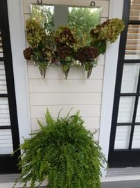 Nice mirrored flower holder, with fluffy Boston fern - Botox treatment extra!