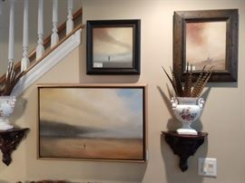 "Scott Hill artowrk; titles are ""Approaching Storm"", (lower right)""Bend"" (upper center left) and ""Pull""."