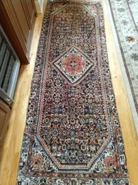 Vintage hand woven Persian Lilihan Sarouk runner, 100% wool face, measures 3.3 x 9.2.