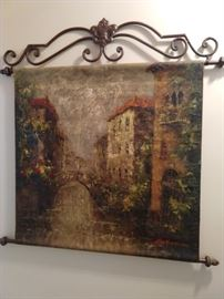 Interesting Venetian canal scene, original oil on metal, with hanging rods.
