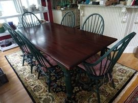 Wonderful vintage farm table, with set of six matching Windsor chairs.