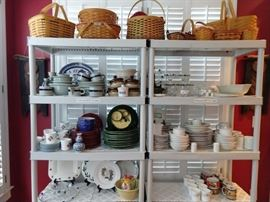 Nice kitchen goodies, all topped off by a nice collection of Longaberger baskets.                                                                 Yes, LONGABERGER - get your motor running, get out on the highway!