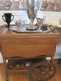 tea cart & silver plate