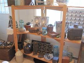 stoneware jugs, molds, coffee grinder & ice cream maker