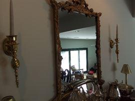 Gilt mirror and sconces