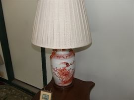 Asian style pair of table lamps
