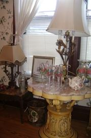 FRENCH PROVINCIAL FLOWER TABLE TOP WITH PINK AND WHITE MARBLE-----1960'S METAL FLOWER LAMPS