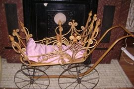 VICTORIAN WICKER DOLL BUGGY