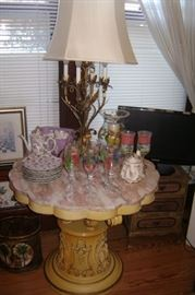 PINK AND WHITE MARBLE SIDE TABLE