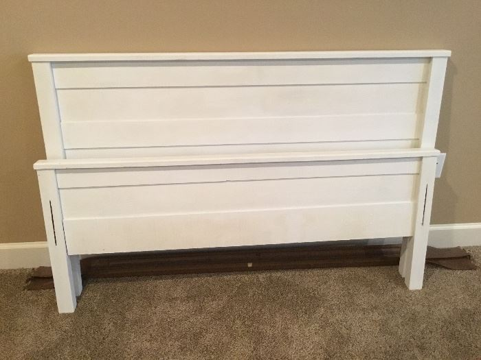 White wooden full size headboard, footboard and rails.
