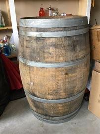 Large heavy wooden wine barrel