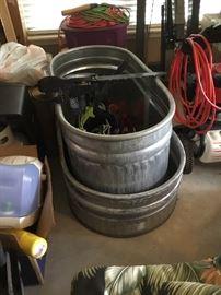 Large metal tubs