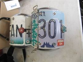2 Purses made from license plates and hubcaps
