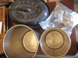 2 Stainless steel containers, granite roaster with ...