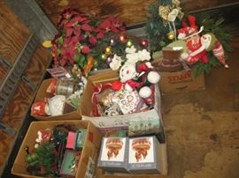 5 big boxes filled with Christmas decor, pointsett ...