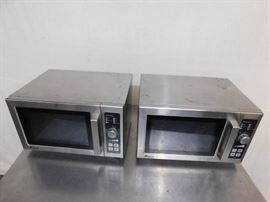 2 Amana Commercial Stainless Steel Microwaves