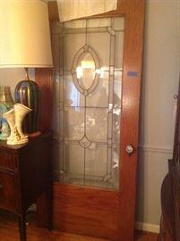 1920's Leaded Glass/Oak Door, MCM Table Lamp, Roseville Vase