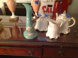 Roseville - Ming Tree, Tea Set includes Tea Pot, Sugar & Creamer.