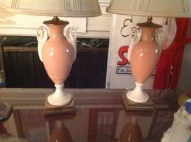Pair of Lenox Swan Lamps