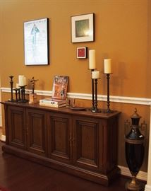 Nice Table (large but small footprint great for storage), Most Candlesticks are Pottery barn and LARGE metal decorative urn w/ lid